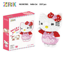 2018 new ZRK 7801 1937 Pcs Hello Kitty Japanese anime Cartoon DIY Magic Blocks Diamond Building Block Toys Compatible with(China)