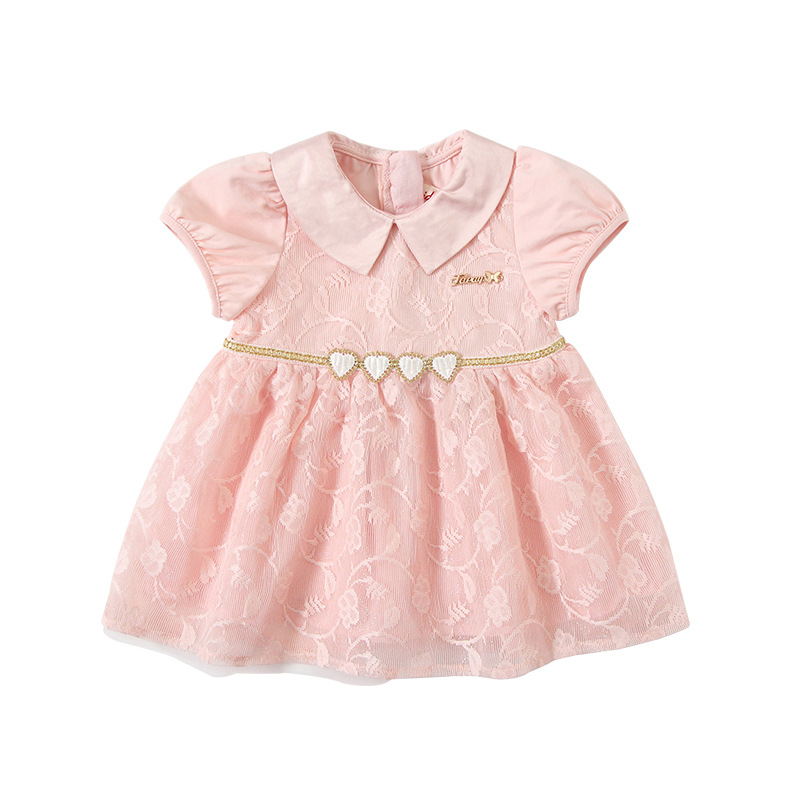 Image 5 - Baby Girls Dresses Summer Peter Pan Collar Girls Heart Sequins Lace Kids Dress Childrens Wear 0 4YDresses   -