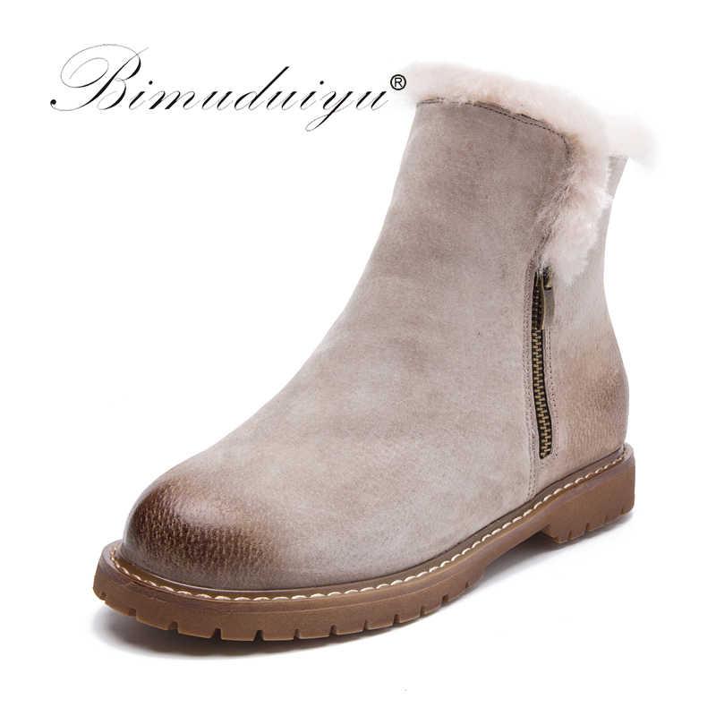 BIMUDUIYU ผู้หญิงฤดูหนาวรองเท้าใหม่มาถึงของแท้หนังหิมะรองเท้าหนังหมู Plush ผ้าขนสัตว์ชนิดหนึ่ง WARM ข้อเท้ารองเท้าสบายๆรองเท้า