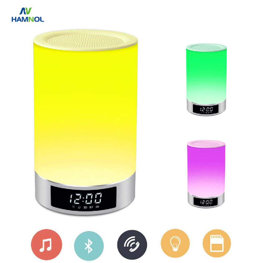HAMNOL Portable Mini Wireless Bluetooth Speaker LED Light Changeable Colors Lamp Hands-Free Calls Music Player Alarm Clock Timer