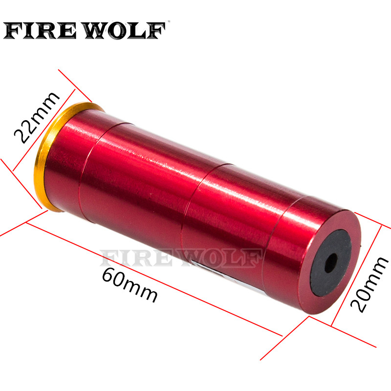 FIRE WOLF 12 GAUGE 12 GA Cartridge Laser Bore Sighter Boresighter Red Sighting Sight Boresight For 12GA