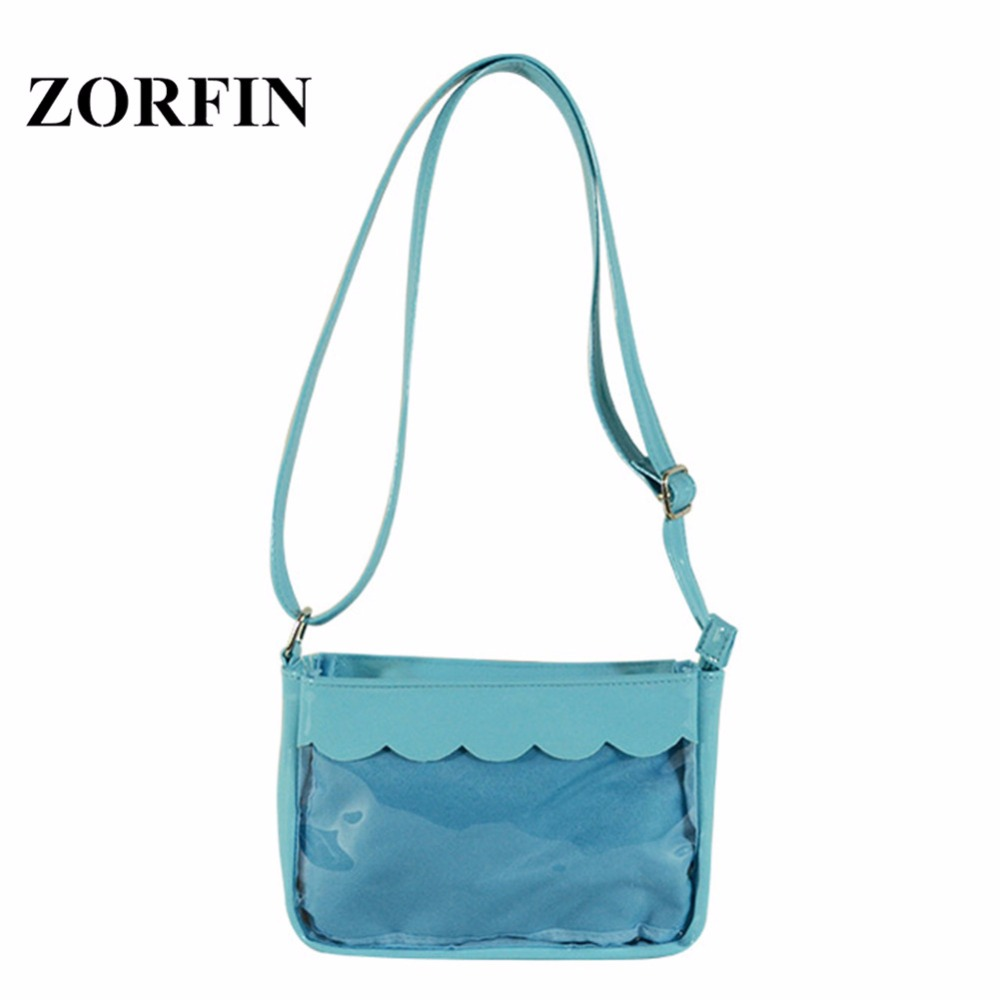 Zorfin Small Blue Ita Bag Women Clear Transpa Shoulder Bags For Ager S Las Crossbody Diy Anime Itabag In From Luggage