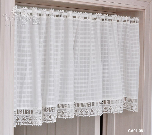 Curtains Ideas curtains for kitchen door window : British Half curtain Embroidery Window Valance White square coffee ...