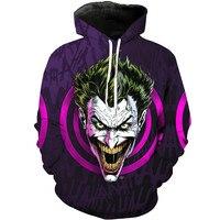 Halloween Harajuku 3D Print Cartoon anime Super Hero Joker haha Clown king Sweatshirts Long sleeve with hat Skull Hoodies Tops