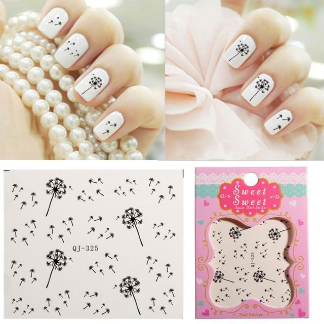 Water Transfer Stickers Nail Art Tips Diy Decoration Dandelion Fly Seeds Decals