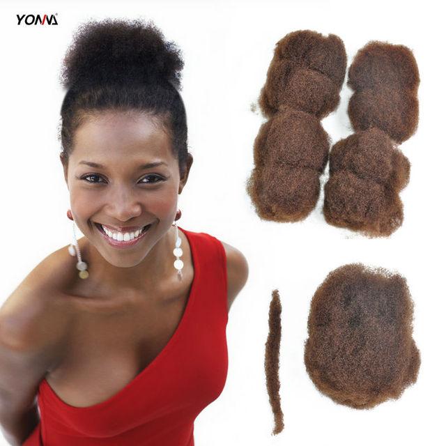 "Yotchoi 4 unids/lote apretado afro rizado pelo 100% del pelo humano a granel para rastas, trenzas giro light brown color de 6 # longitud 8 ""-26"""