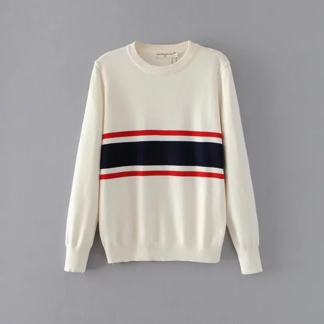 HTB1umPsSpXXXXcgapXXq6xXFXXXL - Striped Splicing wild loose sweater Womens soft pullovers PTC 73