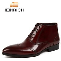 HEINRICH 2018 Men Ankle Boots Leisure Nubuck Leather Shoes Men Autumn Winter Lace Up Boots Comfortable Footwear Botas De Lluvia