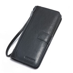 Image 4 - Мужской Длинный кошелек из натуральной кожи BISON DENIM, деловой кошелек на молнии с карманом, роскошный фирменный дизайн, удобный клатч, N8222 1