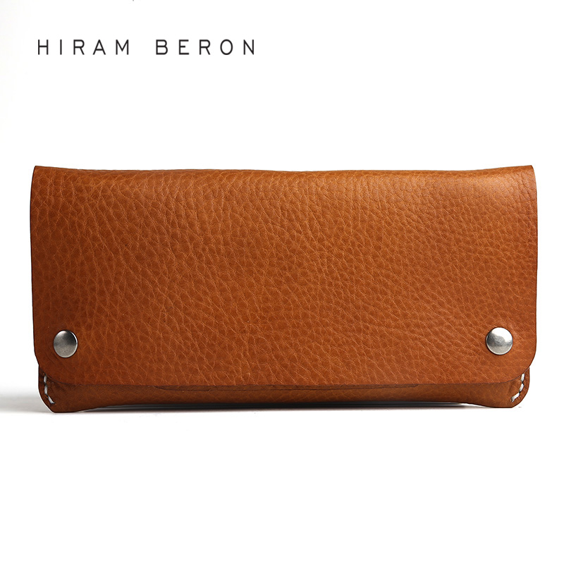 Hiram Beron Leather Wallet Unisex Long Large Capacity Free Custom Name Wallet Money Card Holder Vegetable