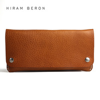 Hiram Beron Leather Wallet Unisex Long Large Capacity Free Custom Name Wallet Money Card Holder Vegetable Tanned Leather Wallet