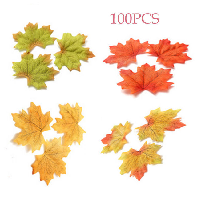 US $1 49 |100Pcs Artidicial Cloth Maple Leaves Multicolor Autumn Fall Leaf  For Art Scrapbooking Wedding Bedroom Wall Party Decor Craft-in Artificial &