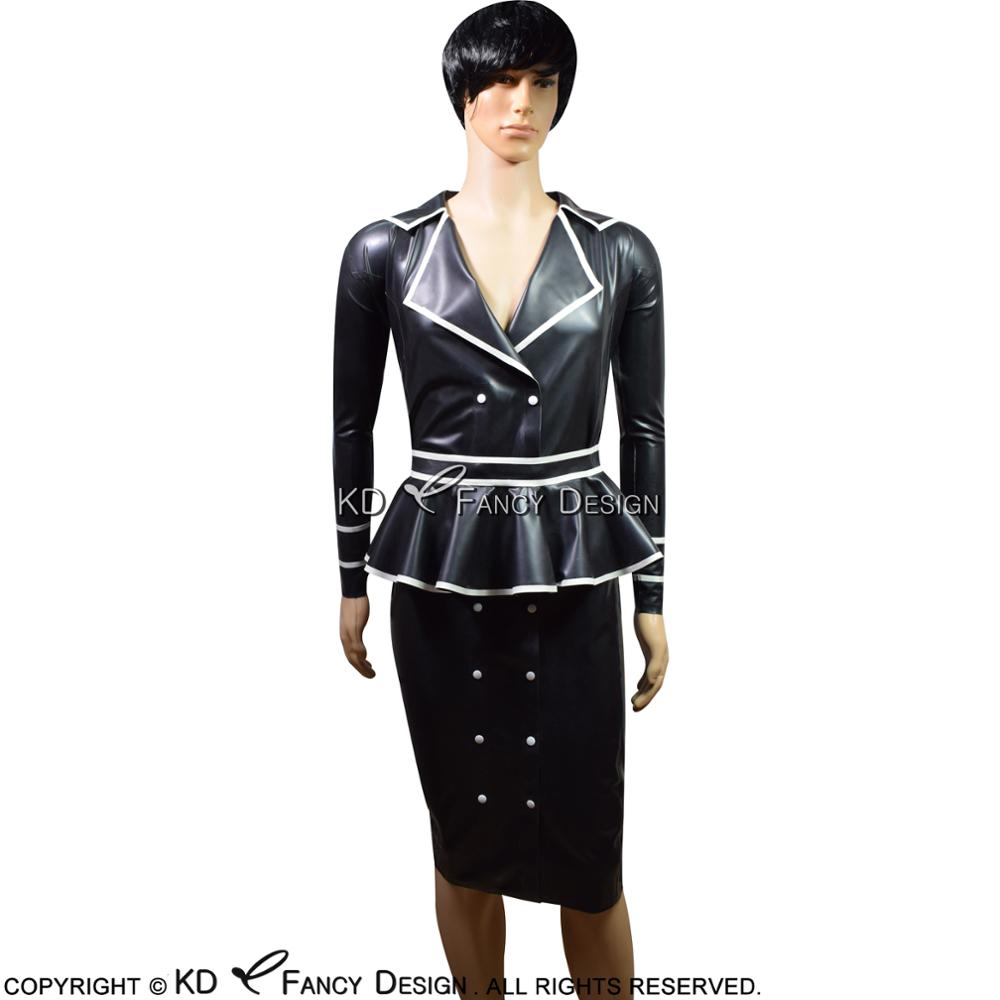 Black With White Sexy Latex Dress With Belts And Frills Buttons At Side Rubber Uniform Bodycon Playsuit LYQ-0056