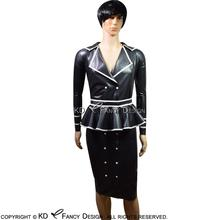 цена на Black With White Sexy Latex Dress With Belts And Frills Buttons At Side Rubber Uniform Bodycon Playsuit LYQ-0056