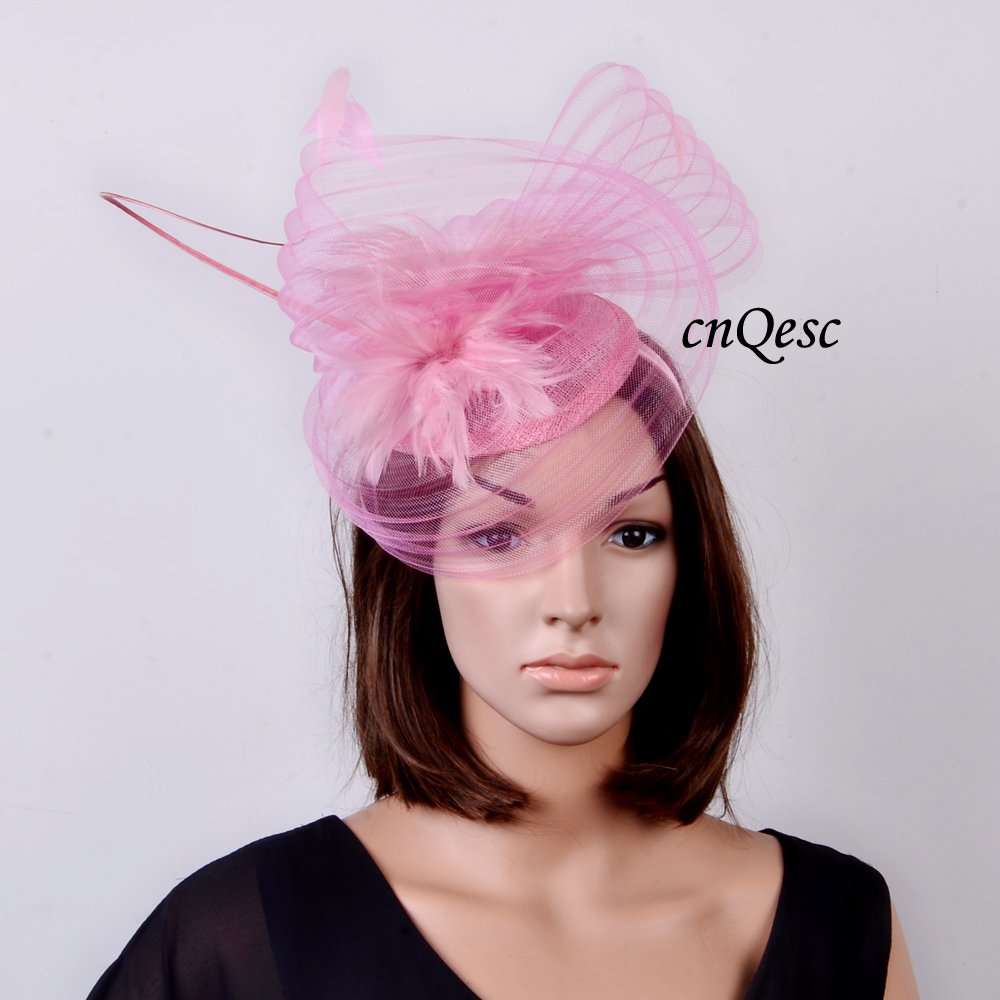 NEW Hot pink fuchsia Sinamay Hat crin fascinator with feathers and long ostrich  spine for Kentucky Derby ada573a50d17