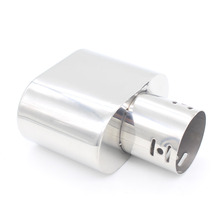 Dongzhen Universal 1X Car Exhaust Muffler Tail Stainless Steal Pipe Chrome Trim Radiator Throat Exhause fit