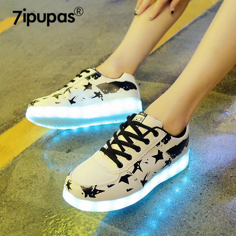 7ipupas 11 Color Luminous Shoe Lovers Couple LED Glowing Shoe Boy Girl Unisex Rechargeable Light Led Sneaker For Children