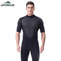 LIFURIOUS Men Wetsuits 3mm Neoprene One Piece Short Pants Diving Wetsuit Diving Suit Surf Waterproof Beach