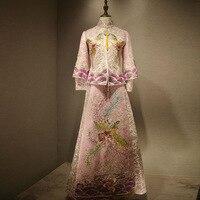 Chinese Traditional Wedding Dress Cheongsam Dragon Phoenix Clothing Qipao Embroidery Rhinestone Tops For Woman Brocade Gown