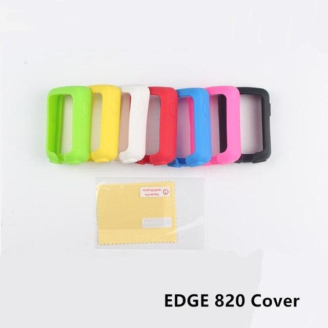 Funda protectora de goma de silicona de ordenador 820 Borde de ciclismo al aire libre + Protector de película de pantalla LCD para Garmin Edge 820