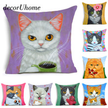 DecorUhome Nordic Cartoon Cat Eat Food Cushion Cover Dog With Umbrella Polyester Pillow Cover Sofa Nordic Decorative Pillow Case(China)