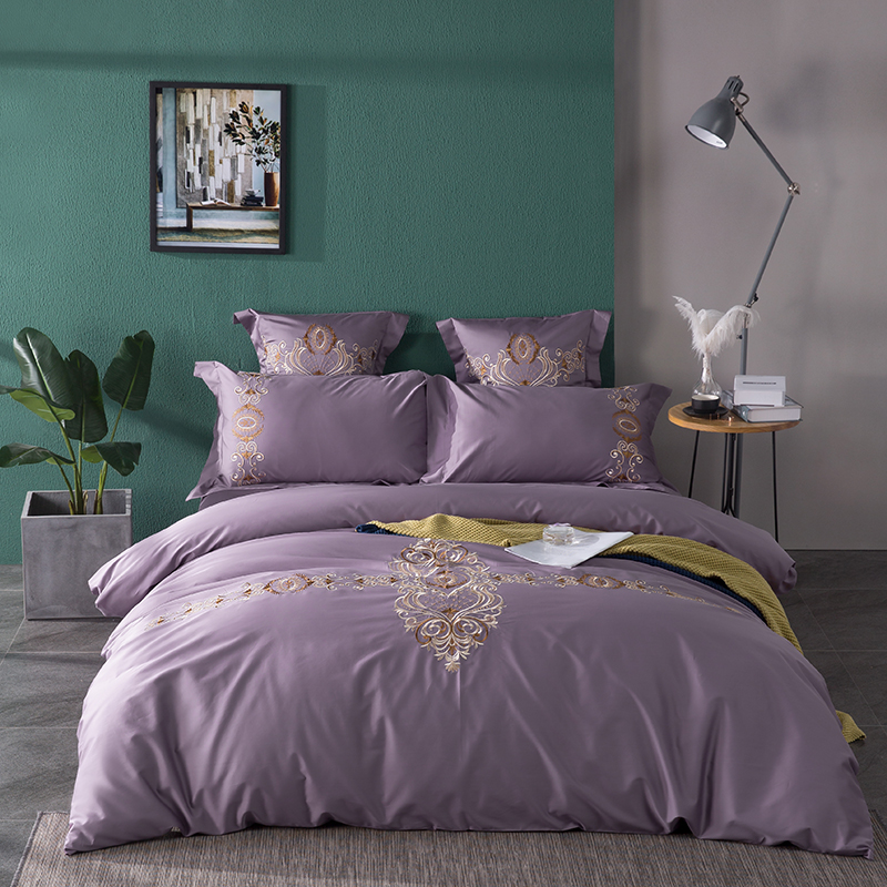 Luxury 60S Egypt Cotton Baroque Bedding Set Embroidery Silky Duvet Cover Flat Fitted Sheet Pillowcases Queen King size 4/6Pcs