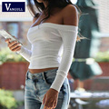 2017 Brand New Slash Neck Blusas Blouse Quality Women Female Femme White Long Sleeve Off Shoulder Top Cotton Sexy Fashion Short