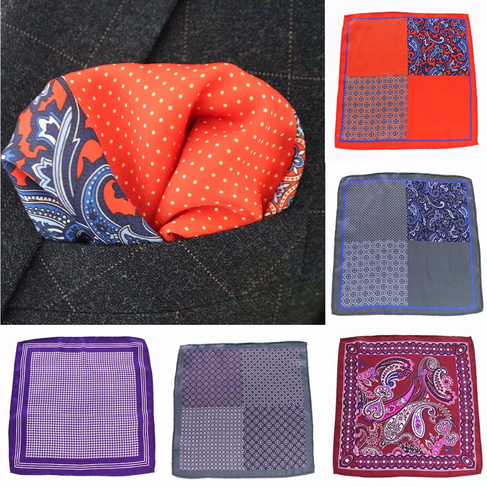 GUSLESON Polka Dot Paisley Floral Handkerchief Silk Satin Mens Hanky Fashion Classic Wedding Party Pocket Square One Side Print
