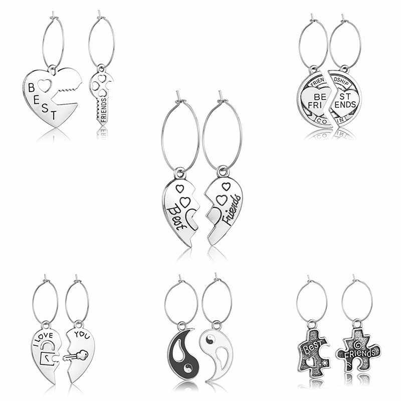 QIAO LA Vintage Splice Heart Pendant Couple Drop Earrings For Women Men Silver Color Asymmetrical Earrings Unique Party Jewelry