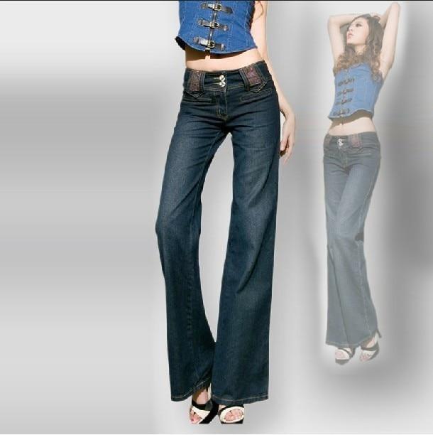 Акция, женские узкие широкие брюки, прямые длинные расклешенные джинсы, женские Модные свободные брюки большого размера - Цвет: denim blue