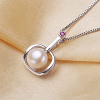 8 9mm Freshwater Pearl Necklace Apple Pendant For Women Fashion 925 Sterling Silver With Chain Jewelry