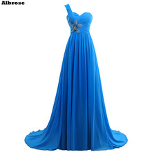 One Shoulder Evening Dress Blue Chiffon Evening Dresses Long Sequined Beaded Formal Party Dresses Floor Length Women Gown