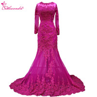 Alexzendra Purple Mermaid Long Formal Evening Dress 2019 Long Sleeves Lace Sexy Prom Dress Party Dress Custom Made Dresses