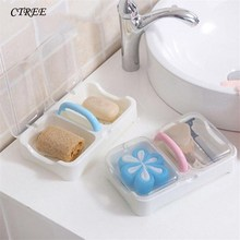 CTREE 1pcs New Portable Travel Double Soap Dish Boxs Cover Holder Wash Shower Kitchen Bathroom Accessories Sets High Quality C31