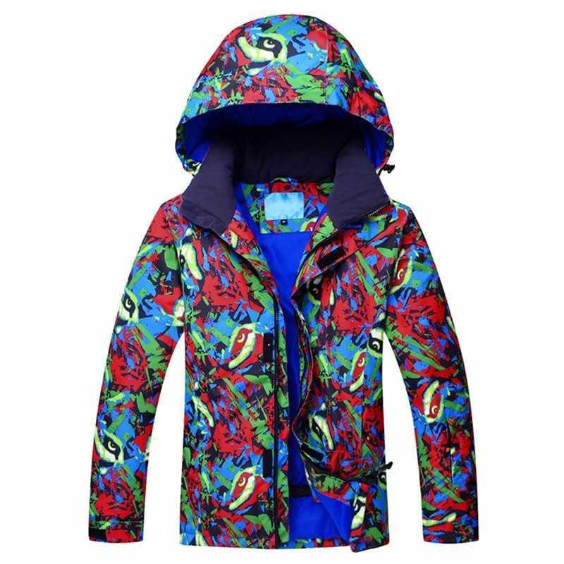 色プリント男性冬スノーボードスキージャケット熱パーカーウインドブレーカーオーバーコート男性スキージャケット雪登山コート