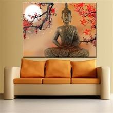 Домашний декор картины для гостиной настенные художественные холщовые рамки 1 шт. цветы и Будда Zen картинки HD принты буддистский постер