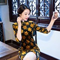 Free Shipping Half Sleeve Qipao Chinese Traditional Clothing Short Cheong-sam Dress For Women's China Dress 3 Style