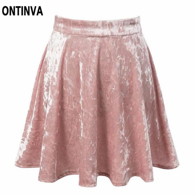 2018 de Verano de Terciopelo Mini Falda Negro Rosa Faldas Plisadas Para  Mujer de Cintura Alta a6bd9adccf1e