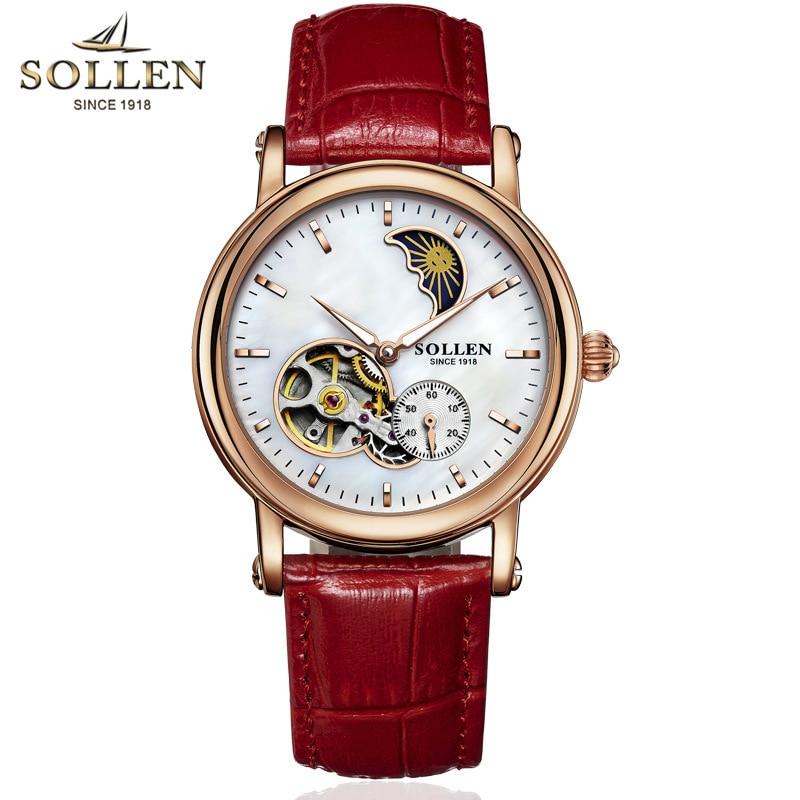 reloj hombre Analog Stars automatic mechanical leather WristWatch women fashion Hollow waterproof font b watch b