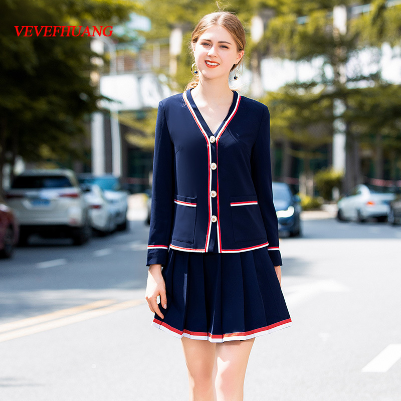 VEVEFHUANG 2018 Autumn New Women Fashion Brief Two-piece Suit V-Neck Long Sleeve Single Breasted Jacket+Short Pleated Skirt Sets