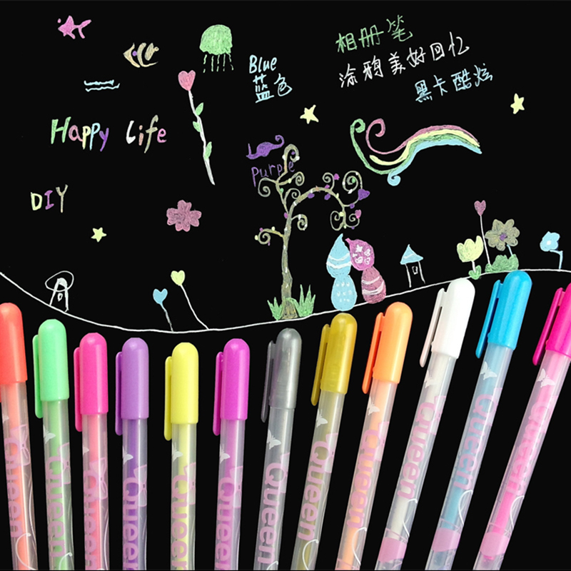 12 Pcs/Pack 0.8mm Kawaii Candy Color Princess Style Multicolor Gel Ink Pen Escolar Stationery Papelaria School Office Supplies