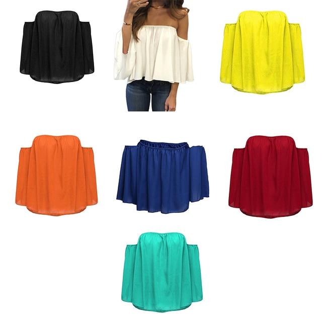 Blusa informal con hombros descubiertos para mujer, camisa sin tirantes de Color puro con mangas abombadas 2