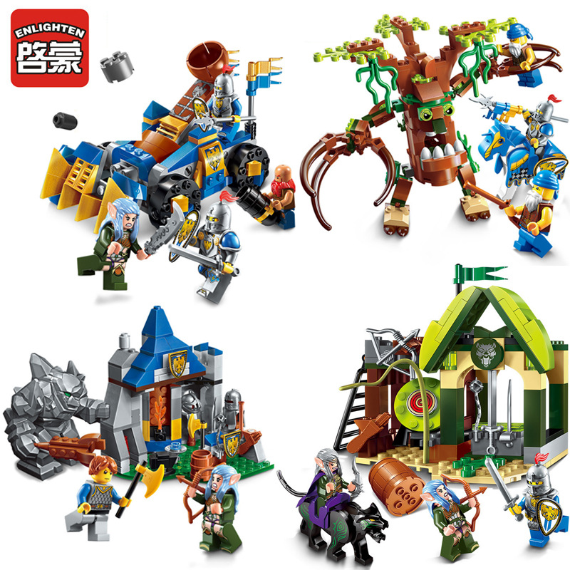 ENLIGHTEN 112pcs/set Building Blocks War of Glory Castle Knights Elfin Range 3 Figures Educational Bricks Toy Christmas Gifts enlighten new 2315 656pcs war of glory castle knights the sliver hawk castle 6 figures building block brick toys for children