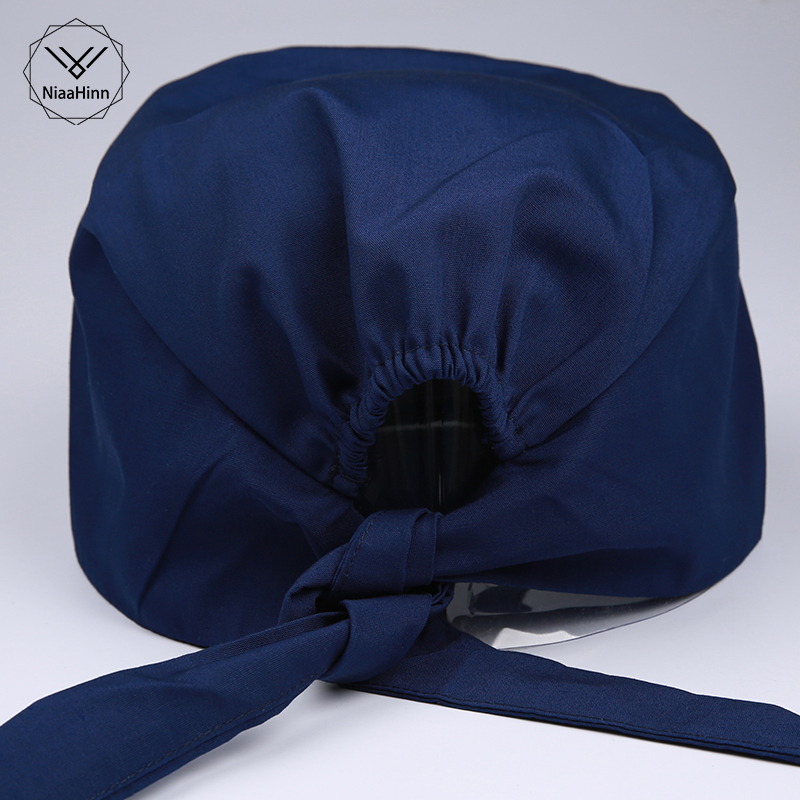 Pharmacy Cap Nurse Doctor Surgical Hospital Adjustable Medical Mask Surgery Caps Scrub Lab Clinic Operation Hat Mask Blue Purple