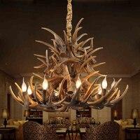 9 köpfe E14 glühbirne lichtquelle Retro Harz Materl Geweih kronleuchter licht-in Kronleuchter aus Licht & Beleuchtung bei