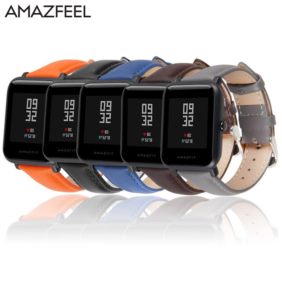 Genuine Leather Correa Amazfit Bip Bit Strap Band Pulseira for Xiaomi Amazfit Bip Smart Watch 20mm Huami Pace Lite Samsung s2