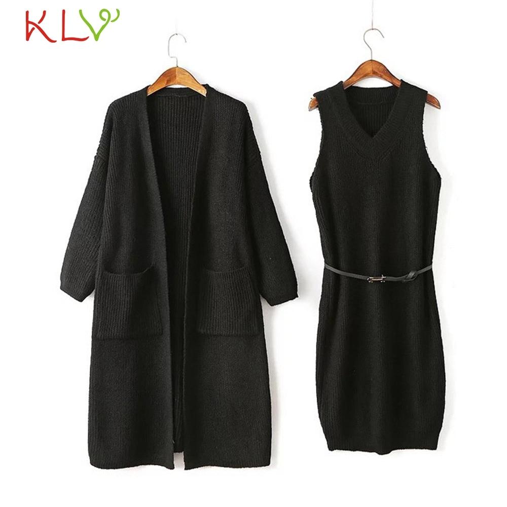 Tireless Women Jacket Winter Long 2pcs Set 2018 Knit Solid Sweater Dress Plus Size Ladies Chamarra Cazadora Mujer Coat For Girls 18oct23 Women's Clothing Cardigans