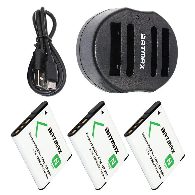 3-Pack NP-BN1 NPBN1 NP BN1 BN Battery&USB Dual Charger for SONY DSC TX9 T99 WX5 TX7 TX5 W390 W380 W350 W320 W360 QX100 W370
