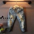 2016 Novo estilo de roupas Meninas jeans crianças crianças jeans jeans Cintura Elástica jeans da moda crianças roupas 3-9Y