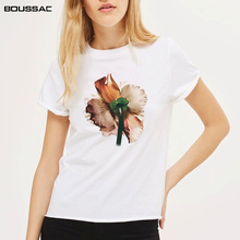 Harajuku Shirt Women Clothes 2019 Fashion Short Sleeve Female T-Shirt White Flower Art Printed Cotton Top Tees Casual O Neck цена